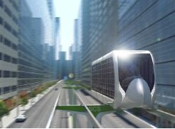 Concept skyway transport urbain pendu