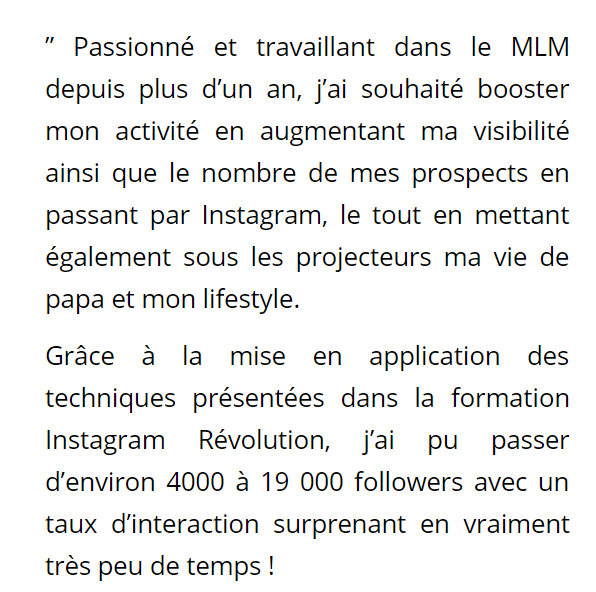 Formation Instagram Revolution temoignage 2